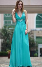 Gorgeous Aqua Blue Sleeveless Floor Length Beading Side Zipper