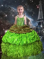 Custom Designed Beading and Ruffles and Pick Ups Little Girl Pageant Gowns Lace Up Sleeveless Floor Length