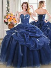 Sweetheart Sleeveless Organza Quinceanera Dresses Beading and Pick Ups Lace Up