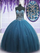 Amazing Sweetheart Sleeveless Vestidos de Quinceanera Floor Length Beading and Appliques Teal Tulle