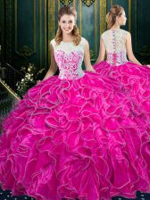 Scoop Sleeveless Zipper Quinceanera Gown Fuchsia Organza