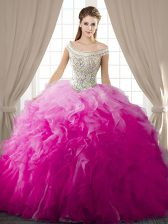 Pretty Fuchsia Ball Gowns Off The Shoulder Sleeveless Organza Floor Length Lace Up Beading and Ruffles Sweet 16 Dresses
