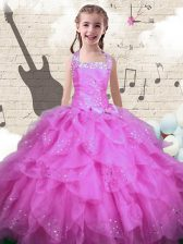 Perfect Halter Top Beading and Ruffles Little Girl Pageant Dress Rose Pink Lace Up Sleeveless Floor Length