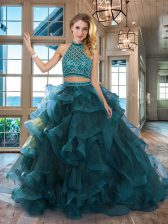Pretty Halter Top Sleeveless Tulle Brush Train Backless Sweet 16 Quinceanera Dress in Teal with Beading and Ruffles