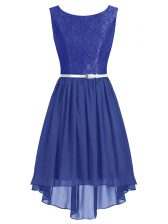 Graceful Column/Sheath Prom Evening Gown Blue Scoop Chiffon Sleeveless High Low Side Zipper