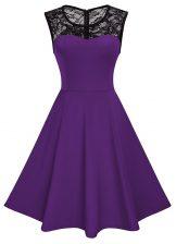 Scoop Knee Length A-line Sleeveless Purple Prom Gown Zipper