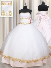 White Satin Lace Up Ball Gown Prom Dress Sleeveless Floor Length Beading and Appliques and Bowknot