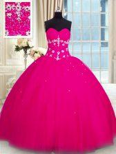Floor Length Fuchsia Quinceanera Gown Tulle Sleeveless Beading