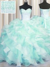 Two Tone Visible Boning Multi-color Sleeveless Organza Lace Up Quinceanera Dresses for Military Ball and Sweet 16 and Quinceanera