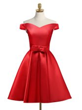 Gorgeous Off The Shoulder Sleeveless Evening Dress Knee Length Bowknot Red Satin