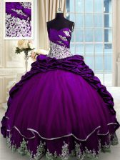 Delicate Purple Quinceanera Dress Military Ball and Sweet 16 and Quinceanera with Beading and Appliques and Pick Ups Sweetheart Sleeveless Brush Train Lace Up