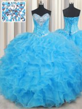 Exceptional Baby Blue Sweetheart Neckline Beading and Ruffled Layers Sweet 16 Dresses Sleeveless Lace Up