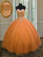 Floor Length Orange Sweet 16 Dress Organza Sleeveless Beading