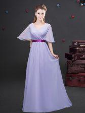 Ruching and Belt Damas Dress Lavender Zipper Half Sleeves Floor Length