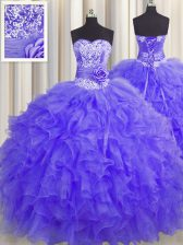 Cute Handcrafted Flower Floor Length Ball Gowns Sleeveless Lavender Sweet 16 Dress Lace Up