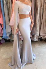 Sweet Mermaid One Shoulder Long Sleeves Side Zipper Dress for Prom Silver Elastic Woven Satin