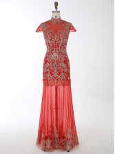 Discount Red Mermaid Chiffon High-neck Cap Sleeves Beading and Appliques Floor Length Backless Prom Evening Gown