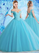 Fantastic Floor Length Aqua Blue Ball Gown Prom Dress Off The Shoulder Sleeveless Lace Up