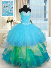 Ruffled Sweetheart Sleeveless Lace Up Sweet 16 Dress Multi-color Organza