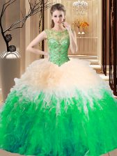 Elegant Multi-color Ball Gowns Scoop Sleeveless Tulle Floor Length Lace Up Beading Quinceanera Gown