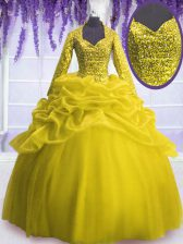 Fitting Yellow Organza Zipper V-neck Long Sleeves Floor Length Quinceanera Dress Sequins and Pick Ups