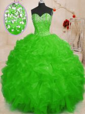 Beautiful Sleeveless Lace Up Floor Length Beading and Ruffles Vestidos de Quinceanera