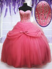Free and Easy Ball Gowns Quinceanera Dress Watermelon Red Sweetheart Tulle Sleeveless Floor Length Lace Up