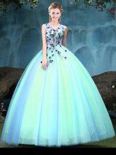 Elegant Sleeveless Appliques Lace Up Quinceanera Dress
