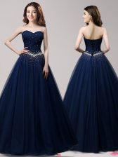 Noble Navy Blue Lace Up Prom Dresses Beading Sleeveless Floor Length