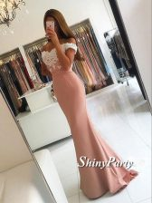 High Class Mermaid Off The Shoulder Sleeveless Dress for Prom Sweep Train Appliques Pink Satin