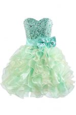 Glorious Green Ball Gowns Beading and Bowknot Prom Dresses Lace Up Organza Sleeveless Knee Length