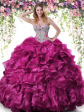 Fuchsia Quinceanera Dress Military Ball and Sweet 16 and Quinceanera with Beading and Ruffles Sweetheart Sleeveless Lace Up