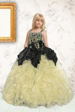 Straps Sleeveless Organza Child Pageant Dress Beading and Pick Ups Lace Up