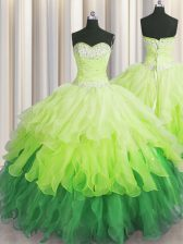 Sweet Floor Length Lace Up Sweet 16 Quinceanera Dress Multi-color for Military Ball and Sweet 16 and Quinceanera with Beading and Ruffles and Ruffled Layers and Sequins