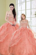 Watermelon Red 15 Quinceanera Dress Military Ball and Sweet 16 and Quinceanera with Beading and Sequins Sweetheart Sleeveless Lace Up