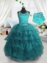 Turquoise Little Girl Pageant Gowns Party and Wedding Party with Beading and Ruffled Layers Spaghetti Straps Sleeveless Lace Up