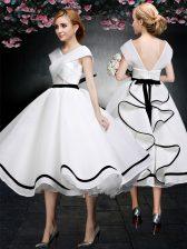 Flare White Chiffon Zipper Evening Dress Cap Sleeves Tea Length Lace