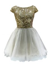 Discount White Cap Sleeves Mini Length Sequins Zipper Prom Gown