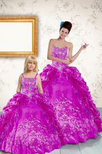 Pick Ups Ball Gowns Quinceanera Dresses Purple Strapless Taffeta Sleeveless Floor Length Lace Up