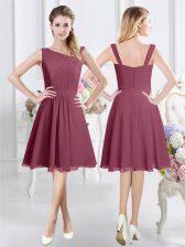 Sleeveless Knee Length Ruching Zipper Quinceanera Dama Dress with Burgundy