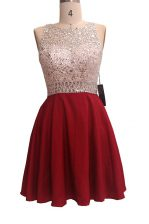 Beautiful Wine Red Homecoming Dress Prom and Party with Sequins Scoop Sleeveless Zipper