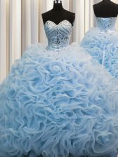 Edgy Brush Train Baby Blue Ball Gowns Beading and Pick Ups Sweet 16 Dresses Lace Up Fabric With Rolling Flowers Sleeveless