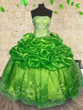Floor Length Lace Up Sweet 16 Dress for Military Ball and Sweet 16 and Quinceanera with Beading and Embroidery