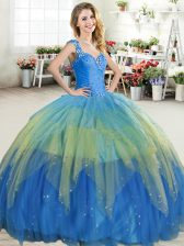 Admirable Straps Ruffled Floor Length Ball Gowns Sleeveless Multi-color Ball Gown Prom Dress Zipper