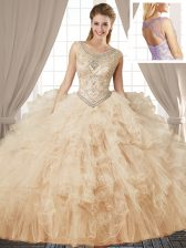 Scoop Sleeveless Lace Up Sweet 16 Dress Champagne Tulle