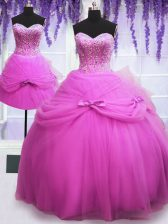 Vintage Three Piece Lilac Ball Gowns Sweetheart Sleeveless Tulle Floor Length Lace Up Beading and Bowknot 15th Birthday Dress