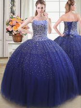 Modern Royal Blue Tulle Lace Up Quinceanera Gowns Sleeveless Floor Length Beading