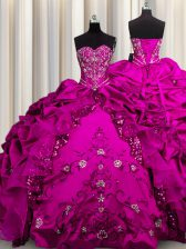 Sequins Sleeveless Lace Up Floor Length Beading and Embroidery and Ruffles Vestidos de Quinceanera