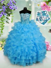 Amazing Strapless Sleeveless Kids Formal Wear Floor Length Beading and Ruffled Layers and Sequins Baby Blue Organza