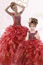 Wonderful One Shoulder Coral Red Sleeveless Beading and Ruffles Floor Length Quinceanera Dresses